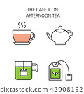 Vector - Coffee flat icon set. coffee equipment cafe with sweets retail service bakery. 029 42908152