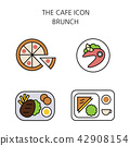 Vector - Coffee flat icon set. coffee equipment cafe with sweets retail service bakery. 027 42908154