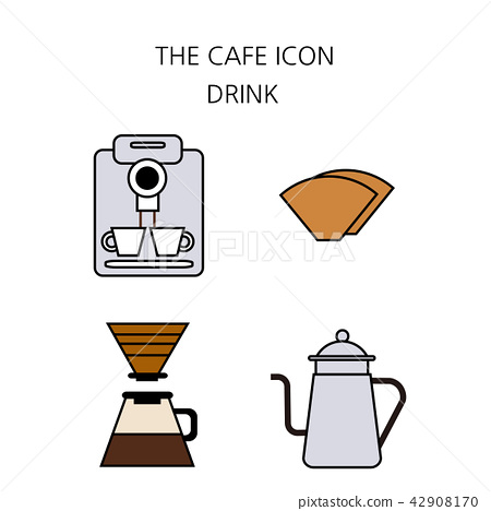 Vector - Coffee flat icon set  coffee equipment cafe with sweets
