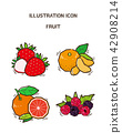 Vector - fruit and vegetable icon set for healthy food on white background 012 42908214