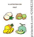 Vector - fruit and vegetable icon set for healthy food on white background 015 42908220