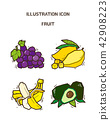 Vector - fruit and vegetable icon set for healthy food on white background 014 42908223