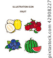 Vector - fruit and vegetable icon set for healthy food on white background 013 42908227
