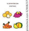Vector - fruit and vegetable icon set for healthy food on white background 006 42908237