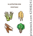 Vector - fruit and vegetable icon set for healthy food on white background 004 42908241