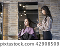 Hairdresser styling woman's hair in a salon. Korean beauty stock photo. 056 42908509