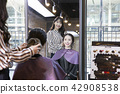 Hairdresser styling woman's hair in a salon. Korean beauty stock photo. 043 42908538
