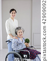 Photo of nurse assisting elderly woman sitting on a wheelchair. care for the elderly concept photo. 095 42909092