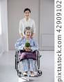 Photo of nurse assisting elderly woman sitting on a wheelchair. care for the elderly concept photo. 085 42909102