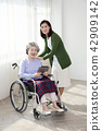 Photo of nurse assisting elderly woman sitting on a wheelchair. care for the elderly concept photo. 018 42909142