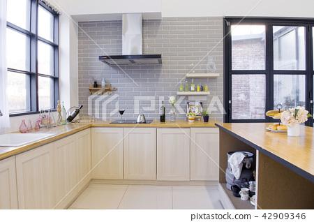 Modern space interiors design stock photo. living room, office room, restaurant and hair salon. 007 42909346