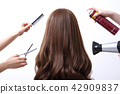 Long colorful hair with objects related to hair salon on close up isolated on background. 103 42909837