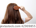 Long colorful hair with objects related to hair salon on close up isolated on background. 117 42909855