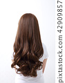 Long colorful hair with objects related to hair salon on close up isolated on background. 104 42909857
