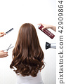 Long colorful hair with objects related to hair salon on close up isolated on background. 110 42909864