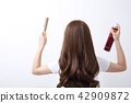 Long colorful hair with objects related to hair salon on close up isolated on background. 108 42909872
