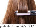 Long colorful hair with objects related to hair salon on close up isolated on background. 109 42909873
