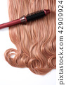 Long colorful hair with objects related to hair salon on close up isolated on background. 046 42909924