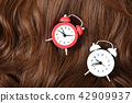 Long colorful hair with objects related to hair salon on close up isolated on background. 026 42909937