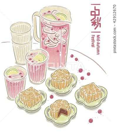 中秋節 月餅 茶 賞月  插畫 插圖 42912670