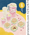 中秋節 月餅 茶 賞月  插畫 插圖 42912674