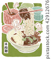 牛肉面,汤面,食物插画 42912676