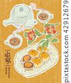 中秋節 月餅 茶 賞月  插畫 插圖 42912679