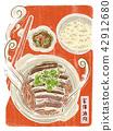 亚洲食物,炖煮猪肉,食物插画,新年传统 42912680