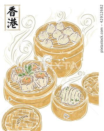 香港,食物插画,小笼包 42912682