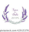 Lavender and leaves watercolor for save the date. 42915376