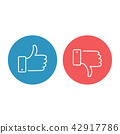 Like and dislike icons set. Thumbs up and thumbs 42917786