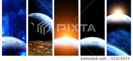 Collection of space banners 42918915