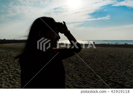 亞洲台灣台南安平觀夕平台海邊沙灘海水女人女性女孩模特兒肖像人像 42919118