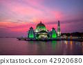 masjid selat melaka in malacca,  malaysia at dusk 42920680