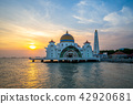 masjid selat melaka in malacca,  malaysia at dusk 42920681