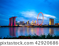 skyline of singapore by the ocean at night 42920686