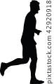 runner, marathon, silhouette 42920918
