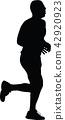 runner, marathon, silhouette 42920923
