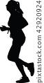 runner, marathon, silhouette 42920924