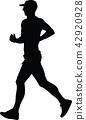 runner, marathon, silhouette 42920928