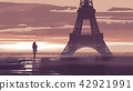 alone woman in Paris at dawn 42921991