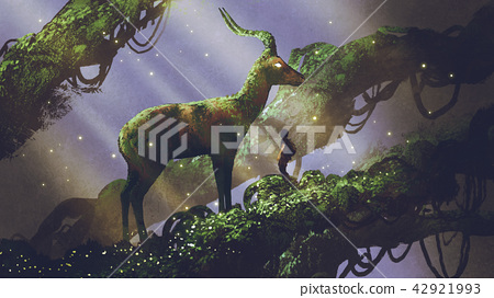 giant deer statue in forest 42921993