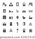 Icon set - Furniture filled icon style vector 42922410