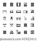 Icon set - Furniture filled icon style vector 42922411