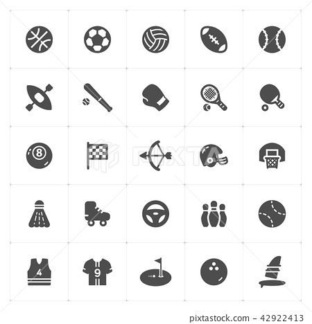 Icon set - Sport filled icon style vector  42922413