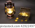 블랙 백 랜턴과 보물 상자 금화 42922497