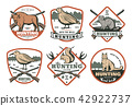 Hunting animal, bird with rifle retro shield badge 42922737