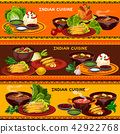Indian cuisine restaurant banner with thali dish 42922768