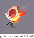 Businessman character running with back on fire. 42922769