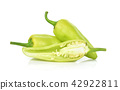 Green hot chili pepper  on the white background. 42922811